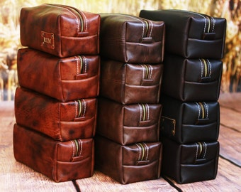 HANDMADE Men's Leather Toiletry Case Dopp Kit Shaving Bag OOAK Groomsmen Present Groomsman Gift Wedding