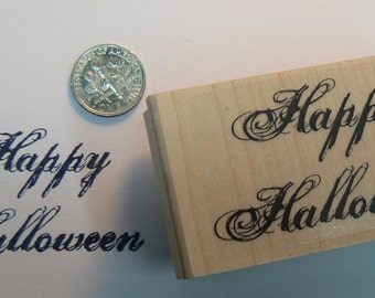 P37 Happy Halloween font rubber stamp