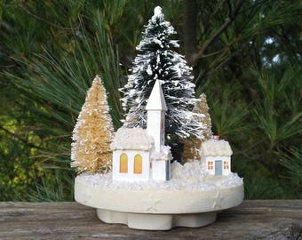 Christmas Church with steeple scene White Green bottle brush trees holiday decoration display putz village accent piece snowy cottage