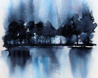 Blue Tree Landscape Reflection PRINT, Winter Painting, Blue Landscape Painting