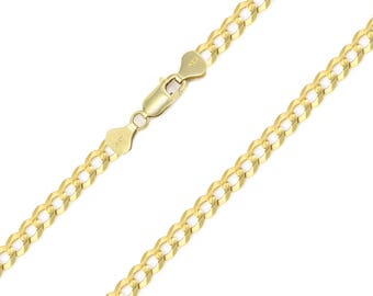 """14K Solid Yellow Gold Cuban Necklace Chain 4.0mm 18-30"""" - Round Curb Link"""