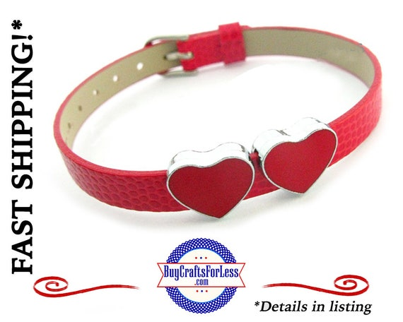 8mm Slider Heart CHARM, RED for 8mm Bracelets, Collars, Key Rings, MORE +FReE Shipping & Discounts*