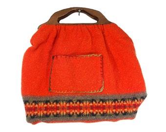 "7 DOLLAR SALE---Vintage Large Orange Fabric Tote Bag w/ Wooden Handle 20"" x 14"""