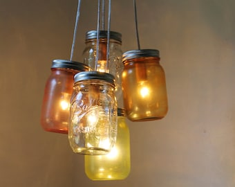 Mason Jar Chandelier Lighting Fixture, Hanging Mason Jar Pendant Lights, Red Orange Yellow Clear Jars, BootsNGus Lighting, Bulbs Included