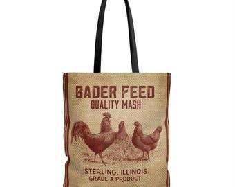 Copy Of Farmhouse Style Feed Sack Burlap Print Tote Bag