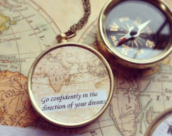 Map compass Necklace, graduation gift, Go Confidently in the Direction of Your Dreams quote, farewell gift