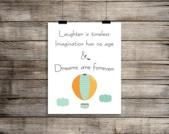 Walt Disney, Laughter, Imagination, Dreams Are Forever, Hot Air Balloon, Baby Girl Nursery, Wall Art Printable | Dreams Nursery Print (8x10)
