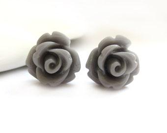 SALE - Grey Rose Stud Earrings