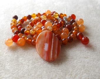 Striped Agate Pendant, Jade Beads, Carnelian Beads, Bead Kit, Necklace Kit, Craft Supplies, Jewelry Making Beads, DIY Jewelry Kit