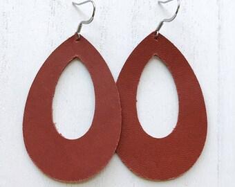 Rust Teardrop Cutout Earrings