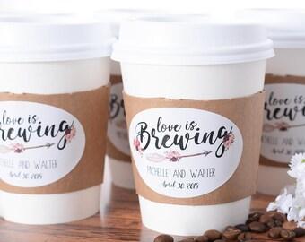 Wedding Coffee Cups - Wedding Coffee Bar - Hot Chocolate Bar - Drink Cups - Custom Wedding Coffee Labels - Coffee Cup Sleeves - #wdiCF-292