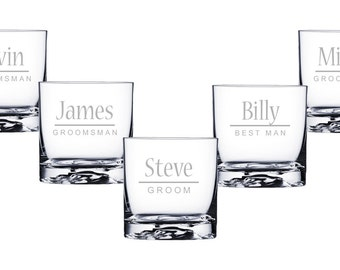 Personalized Glasses, Custom Whiskey Glasses, Groomsmen Gifts, Engraved Gift, Wedding Favor, Custom Whiskey Glasses, Set of Whiskey Glasses