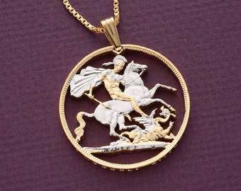 "Great Britain St George Pendant and Necklace, British Crown Hand Cut, 14 K Gold and Rhodium plated, 1 1/4"" in Diameter, ( # 498 )"