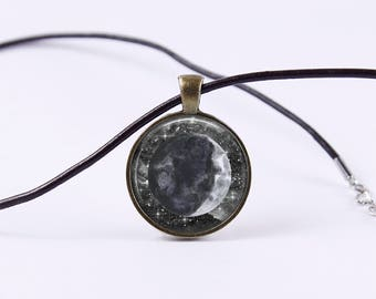 Waxing Crescent Moon Necklace | Moon Pendant Necklace Moon Phase Necklace Moon Jewelry Galaxy Jewelry Black and White Space Stars Starry Sky