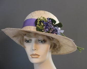 straw wide brim hat, purple green flower spray, hand blocked, hand made, natural straw color, garden party, luncheon,tea, vintage flowers