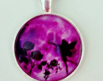 Fairy Moon Necklace Art Glass Pendant Bright Fuchsia Pink Purple Faerie Roses Moonlight Full Moon Colorful Unique Jewelry Gift For Her