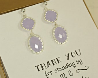 Lavendar Earrings, Double Drop Earrings, Silver Lilac Earrings, Lavender Bridesmaid Jewelry, Long Dangle Earrings, Log Drop Earrings, ES1