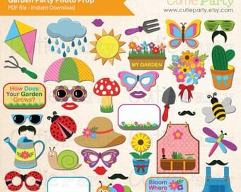 Spring Garden Party Photo Booth Prop, Garden Party Theme Photo Booth Prop, Party Printable - 42 ready to print images