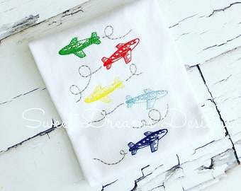Planes and more planes! Boys Vintage Stitched airplanes Stacked - Transportation Tee