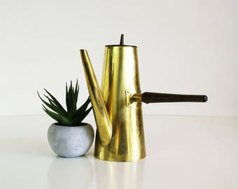 Mid Century Brass and Teak Coffee Pot
