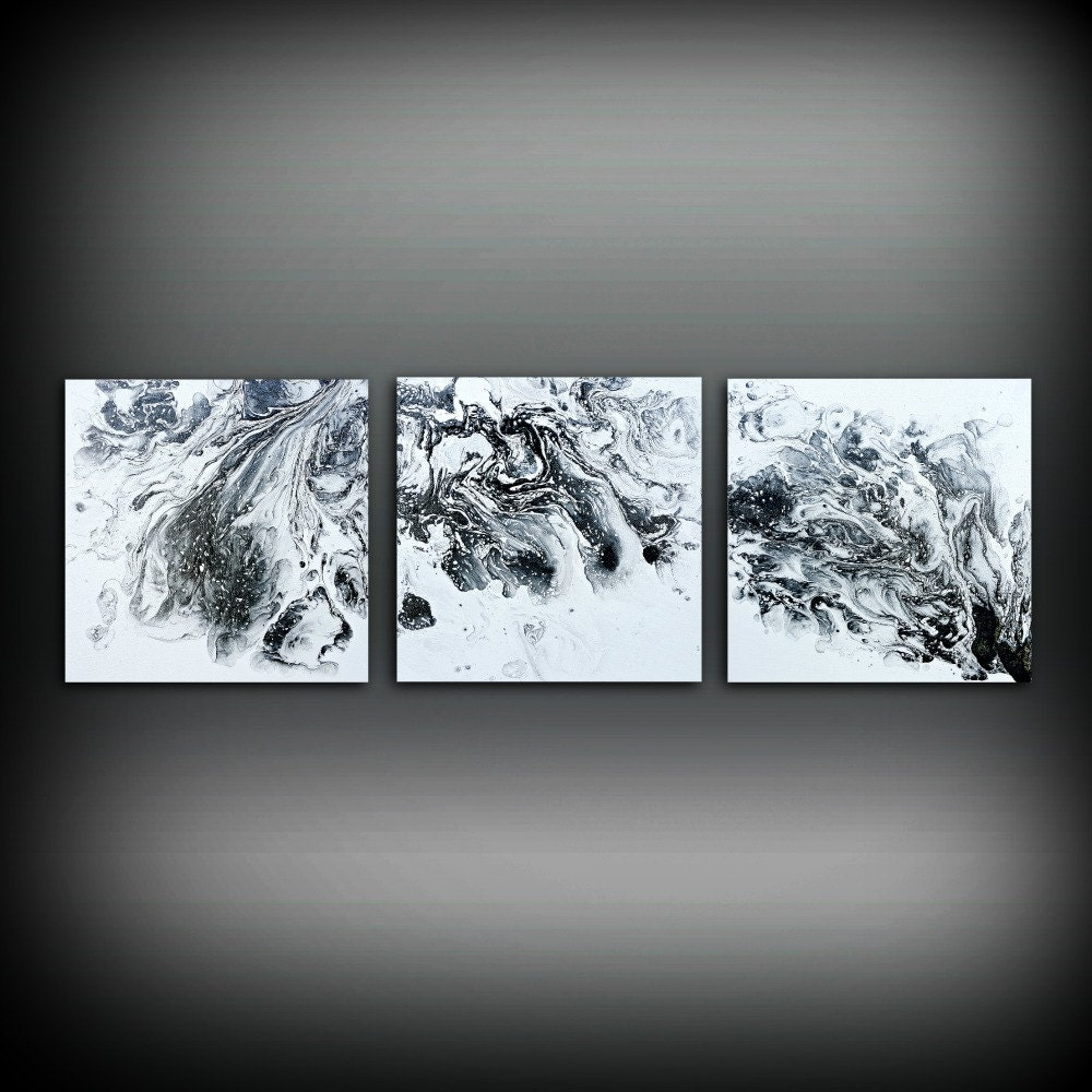 ORIGINAL Art Painting Acrylic Painting Abstract Painting Small Wall Art  Black And White Painting Triptych Wall Hanging Canvas Art 10 X 30