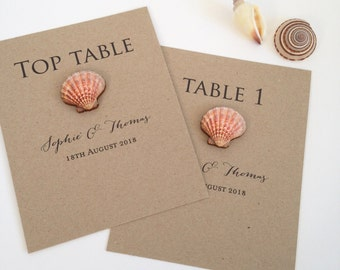 Beach Wedding Table Numbers, Beach Table Names, Wedding Table Names, Shell Table Numbers, Rustic Table Numbers