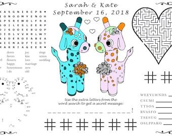 Giraffe Printable Kids Wedding Activity Printable PDF. Print at Home. You Choose Wedding Couple's Genders. Custom Names, Date.