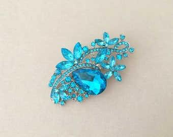 Turquoise Rhinestone Brooch.Turquoise Crystal Brooch.Turquoise Silver Rhinestone Brooch.bridal accessory.Turquoise broach pin.Turquoise Blue