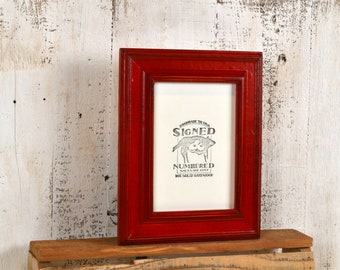 "5x7"" Picture Frame in Diplomat Style with Vintage Red Dye Finish - IN STOCK - Same Day Shipping - Handmade Sale Frame 5 x 7 Red"