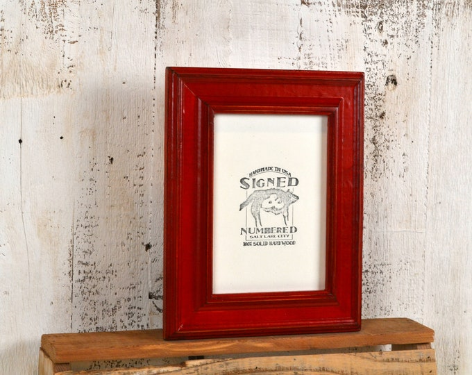 """5x7"""" Picture Frame in Diplomat Style with Vintage Red Dye Finish - IN STOCK - Same Day Shipping - Handmade Sale Frame 5 x 7 Red"""