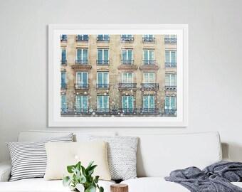 """Paris Photography // Paris Prints // Paris Bedroom Decor // Architecture // French Decor for a modern home // Large Print  - """"Paris Windows"""""""