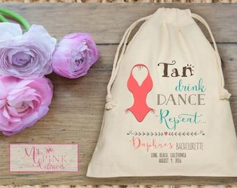Tan Drink Dance Repeat Bachelorette Muslin  Bag - Mini Favor bag - Bridal shower bag-Recovery kit-Personalized muslin bag- Destination bag