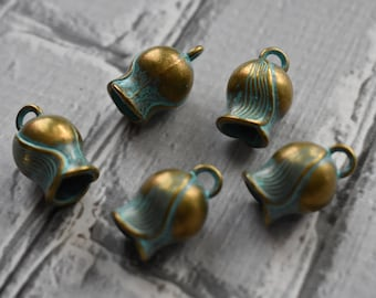 Antique Brass Verdigris  Flower Bell Charms- Boho Brass Blossom Charms Blue Green Patina-  Antiqued Jewelry Supply- Set of 5