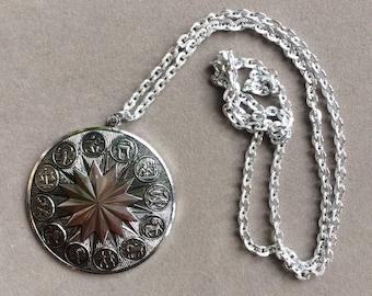 Silver Tone Zodiac Necklace