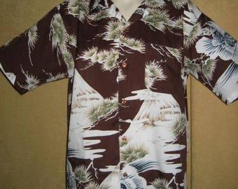 Mens Polyester Shirt Volcano - Mountain Print 70s L Vintage