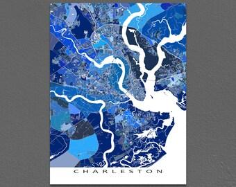 Charleston Map, Charleston South Carolina City Map Print, Street Map