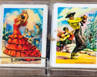 Vintage Playing Cards - Vintage Heraclio Fournier Vitoria Double Deck Playing Card Set - Vintage Flamenco Dancers Playing Cards