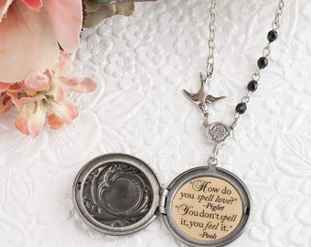 Pooh and Piglet Friendship Necklace How do you spell love you don't spell it you feel it Pooh Quote Necklace Friendship Jewelry Friend Gifts