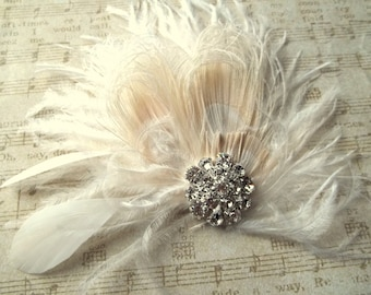 Bridal Hair Clip, Ivory Fascinator, Feather Hair Clip, Wedding Hair Accessories, Bridal Fascinator, Great Gatsby, Bridal Comb, Ivory Wedding