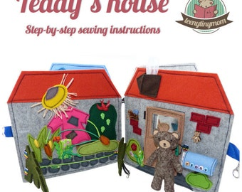 Quiet book Teddy's house - english Tutorials for 8 pages - step-by-step instructions Activity book pdf pattern sewing dollhouse storybook