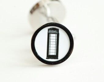 Telephone Kiosk On Cufflinks - Gift cufflinks, Men's Cufflinks,  Husband, Wedding gift, Novelty cufflinks for him