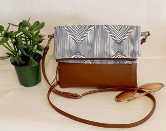 Foldover Crossbody Bag, Simple CrossBody Bag, Blue CrossBody Purse, Everyday Purse, Hobo Handbag, JULIA Crossbody Bag, Boho Bag,Gifts for 50