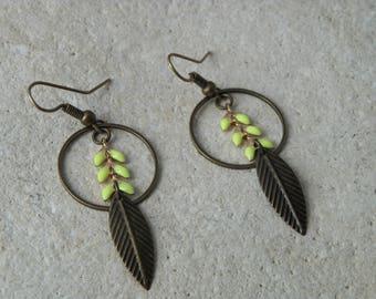 Yellow enamel ears 2 chain earrings