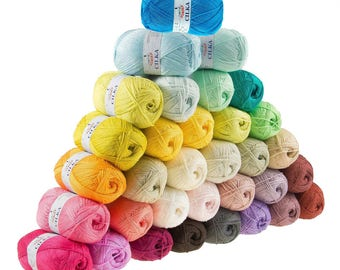 5 x 100g knitted yarn/knitted wool CILKA by VLNIKA, free color choice (colour: Salmon colours)