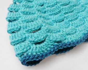 Crochet Hat in Light and Dark Teal Turquoise - OOAK