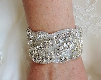 Wedding Bridal Beaded Crystal Bracelet Cuff