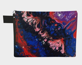 Blue Valentine Wristlet Zipper Clutch Purse, Psychedelic Black Pink Red Blue Abstract Print, Boho Festival Bag, Made to Order