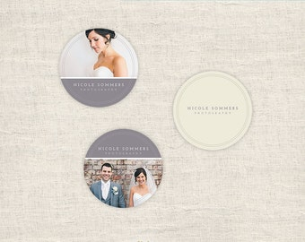Sticker Templates for Photographers - Wedding Photography Templates - 3x3 Round Sticker Designs  Photoshop Templates - INSTANT DOWNLOAD