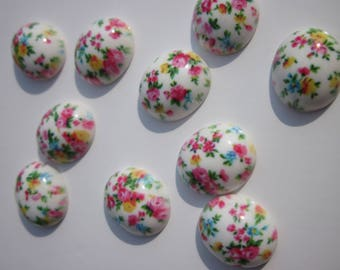 4 resin cameos to paste floral 16x14mm (5)