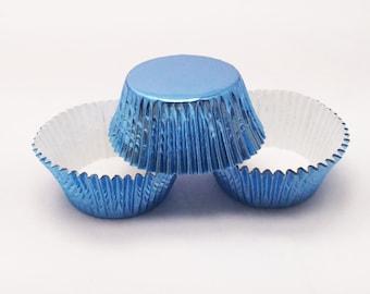 48 Sky Blue LIght Blue Foil Standard Size Cupcake Liners Baking Cups